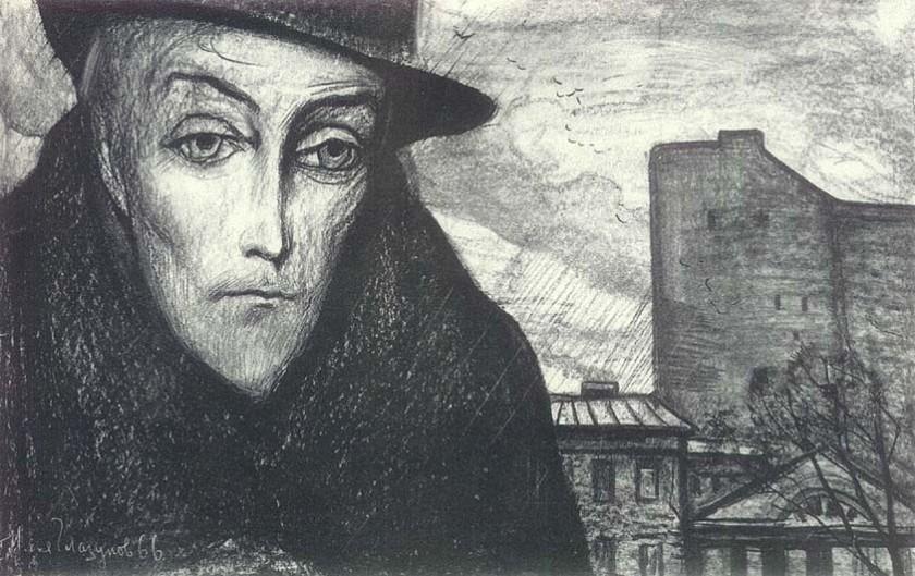 """Ilustración del príncipe Lev Mishkin  de Ilya Glazunov en la edición soviética de 1966 de """"El idiota"""""""